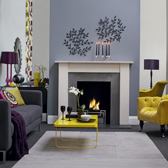 Chic living room living room designs fireplaces for Living room colours and designs