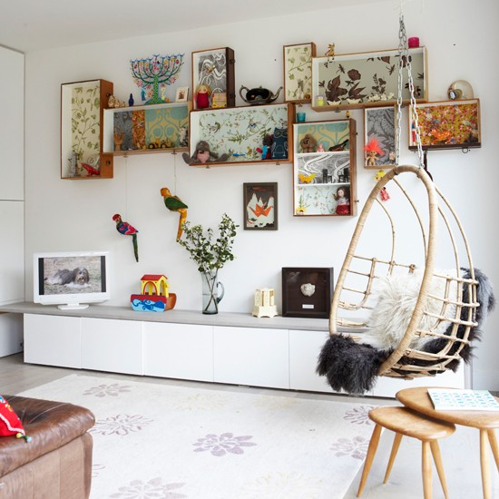 Eclectic white living room | Relaxed living rooms | Hanging chairs | Image | Housetohome