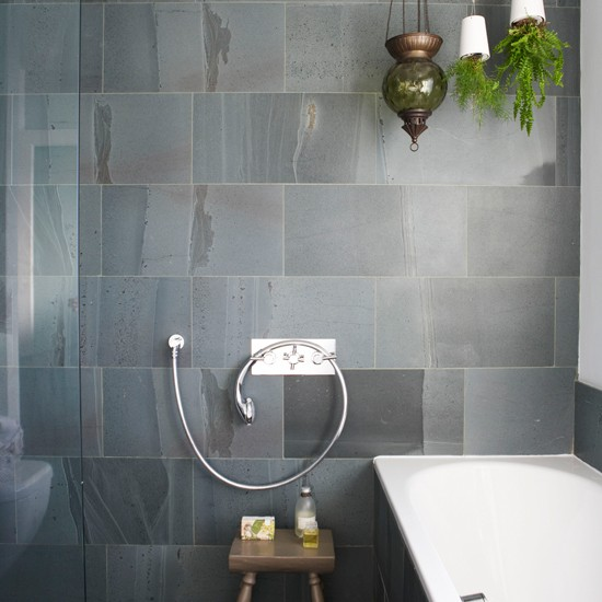 Bathroom with slate tiles wet room designs housetohome for Bathroom grey tiles ideas