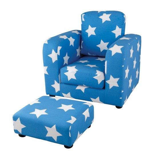 Star pattern armchair and footstool from aspace children for Childrens armchair and footstool