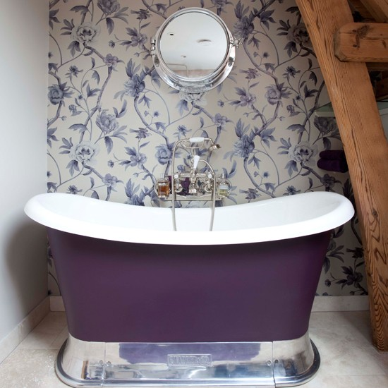 Small purple bathroom | Bathroom wallpaper | bathroom decorating ideas| bathroom | decorating ideas | PHOTO GALLERY | housetohome