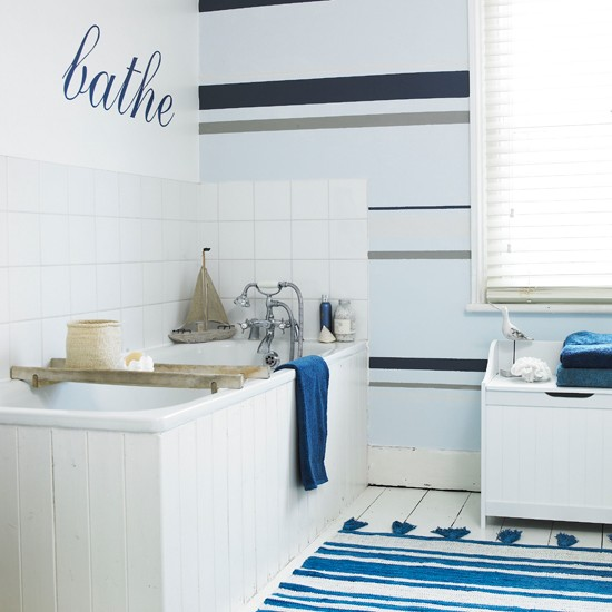 Nautical striped bathroom wallpaper bathroom wallpapers for Bathroom decorating ideas wallpaper