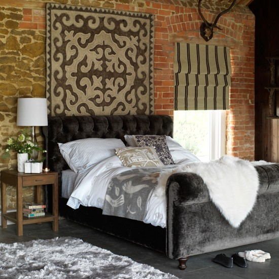 Lodge-style bedroom | Bedroom designs | Sleigh bed | Image | Housetohome