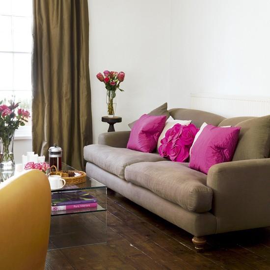 Chocolate and pink living room | Feminine living room | Chocolate sofa | Image | Housetohome