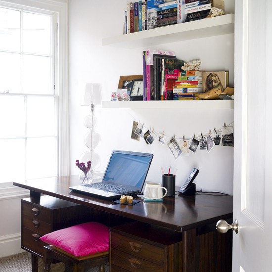 Small home office | Minimalist home office | Wooden desks | Image | Housetohome