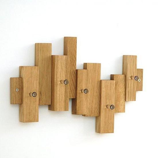 asymmetric oak block hooks from