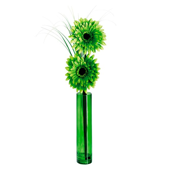 Daisy in Green Luster Vase Flowers | Silk Floral Arrangements