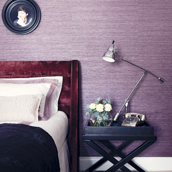 Lilac bedroom | Textured wallpaper | Headboard | Image | Housetohome
