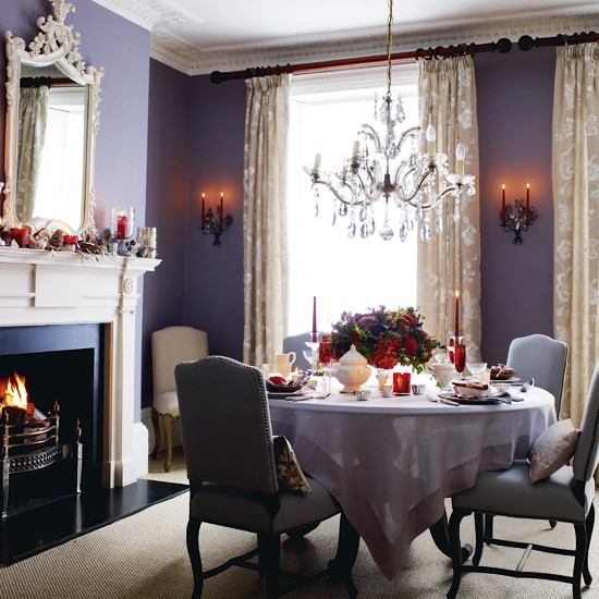Elegant purple dining room | Dining room ideas | Round dining table | Image | Housetohome