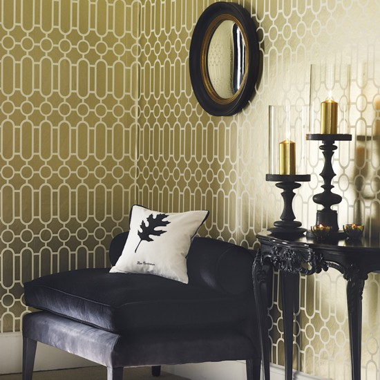 Living room with geometric wallpaper wallpaper for Black and gold living room wallpaper