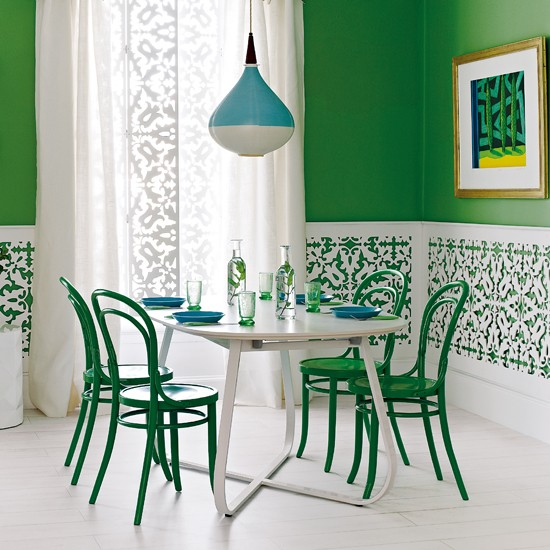 Green and white fretwork dining room | Dining rooms | Dining room ideas - 10 quirky designs | PHOTO GALLERY