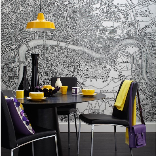 Map print wallpaper and yellow and purple accents | Dining rooms | Dining room ideas - 10 quirky designs | PHOTO GALLERY