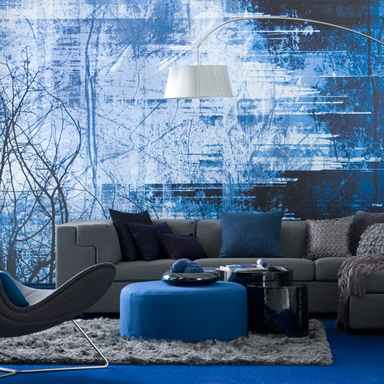 Striking blue living room | Modern living room | Grey sofa | Image | Housetohome