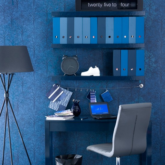 Midnight blue home office  Indigo blue colour schemes  ~ 173143_office decorating ideas blue