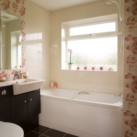 Creative Neutral Bathroom With Distinctive Tiles  Wall Tiles  Bath  Image