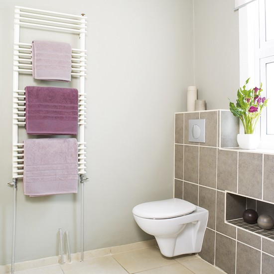 Soft pink bathroom neutral bathroom for Pink grey bathroom accessories
