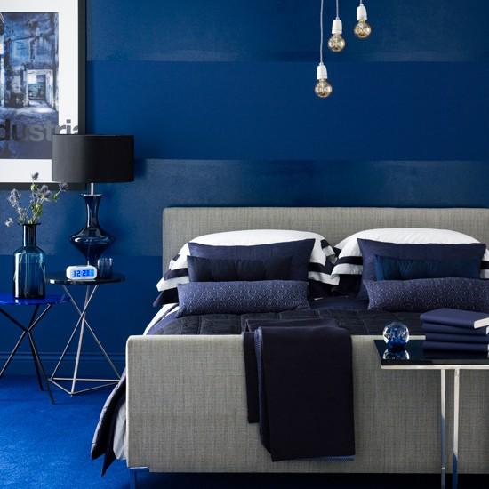 Vivid blue bedroom | Modern bedroom | Wallpaper | Image | Housetohome