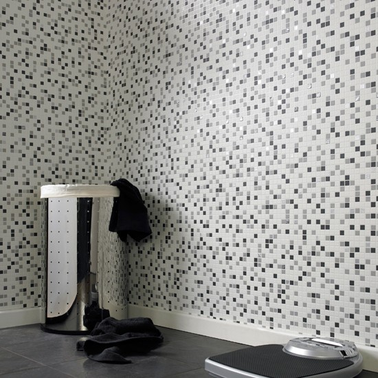 Checker mosaic wallpaper from graham brown wallpapers for Bathroom wallpaper near me