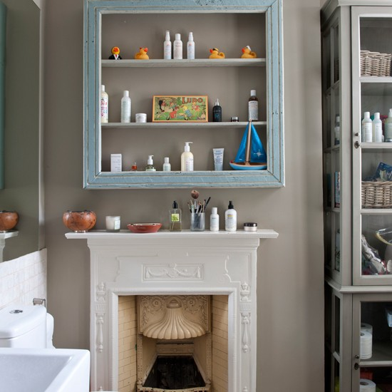 Eclectic bathroom storage | Neutral bathroom | Shelves | Image | Housetohome