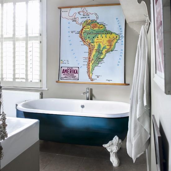 Eclectic bathroom | Modern bathroom | Blue bath | Image | Housetohome