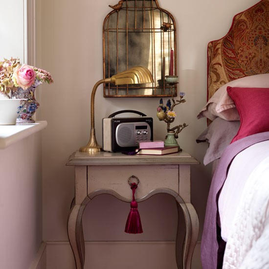 Dusky pink bedroom | Country bedroom idea | Bedside table | Image | Housetohome