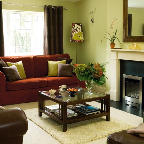 Living room detached 1940s house house tour ideal for Green and brown living room ideas