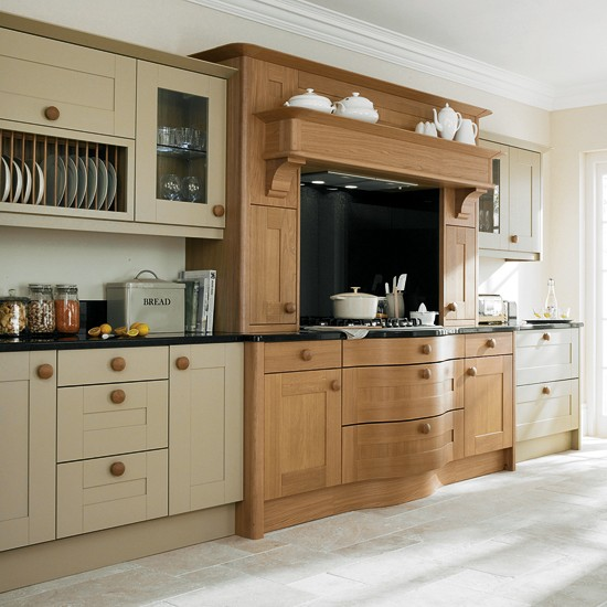 Painted And Natural Oak Kitchen From Second Nature