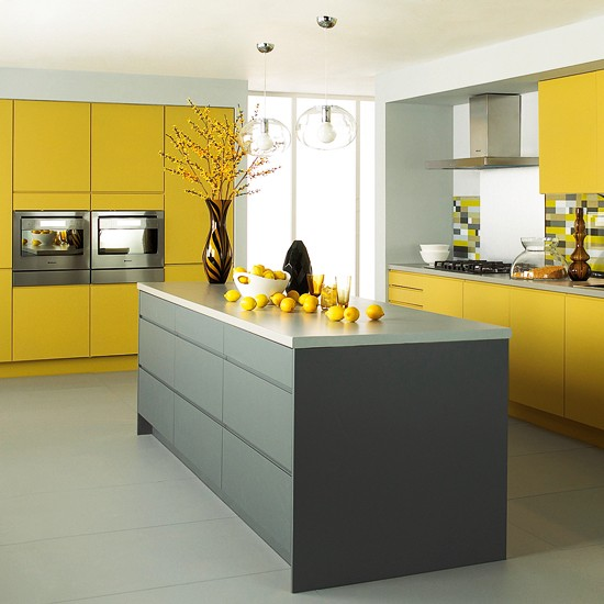 Matt grey and yellow kitchen from jewson mixed finish for Yellow and gray kitchen