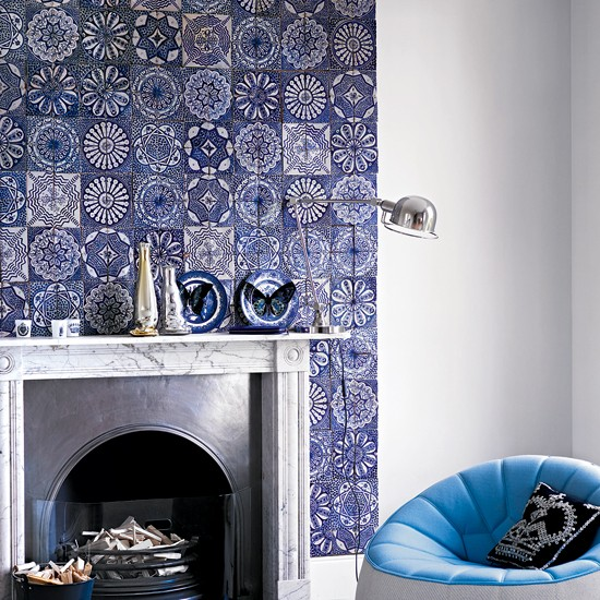Tile a chimney breast easy living room updates in a for Tiled chimney breast images