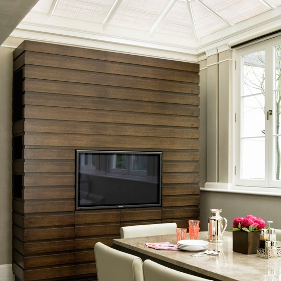 Kitchen Feature Wallpaper: Wooden Panelled Conservatory