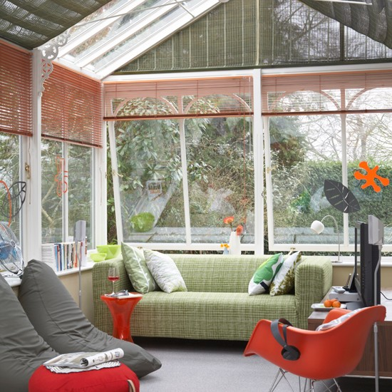 Red and green natural conservatory | Modern conservatory ideas