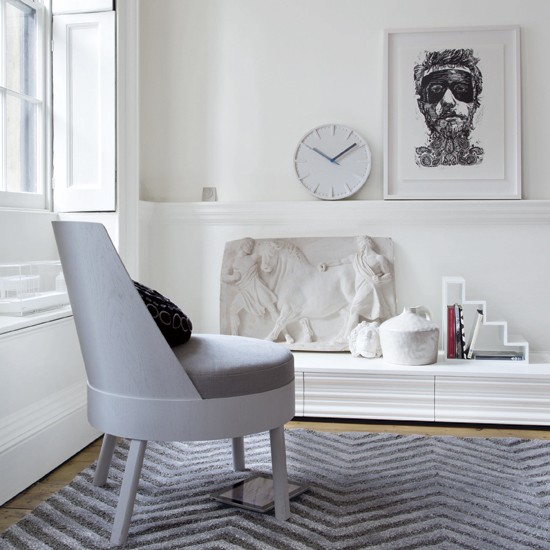 Modern Grecian-style living room | White living room | Striped rug | Image | Housetohome