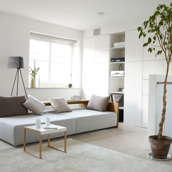 White modern living room | Living room storage ...