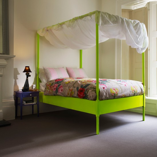 Zingy bedroom | Modern bedroom idea | Modern four-poster bed | Image | Housetohome