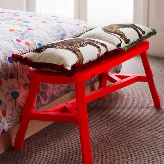 Bright bedroom bench | Bold red colour schemes | Colour | PHOTO GALLERY | decorating ideas | Housetohome.co.uk