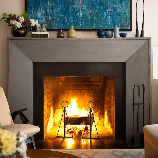 Living room fireplace modern living room for Open fireplace ideas