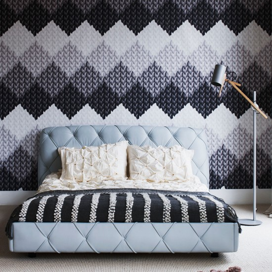 Statement bedroom wallcovering | Modern bedroom | Wallcovering | Image | Housetohome
