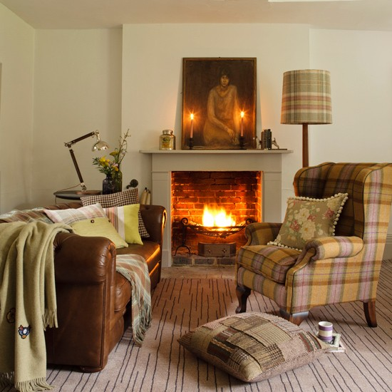 Country living room with plaid accents | Living room design | Plaid armchair | Image | Housetohome