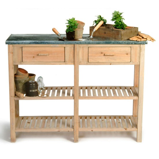 Large potting bench from garden trading garden storage - Potting table with storage ...