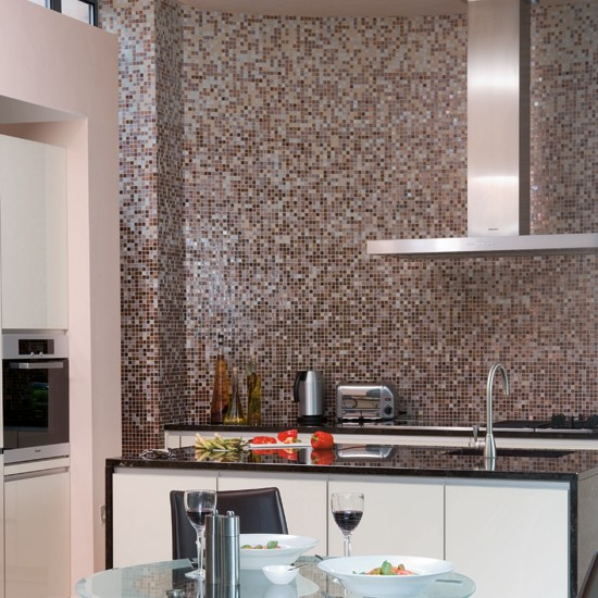 Monochrome mosaic splashback | Black and white kitchens - 10 of ...
