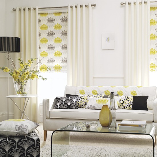 Accent yellows 5 ways with yelows and oranges for Yellow and grey living room ideas