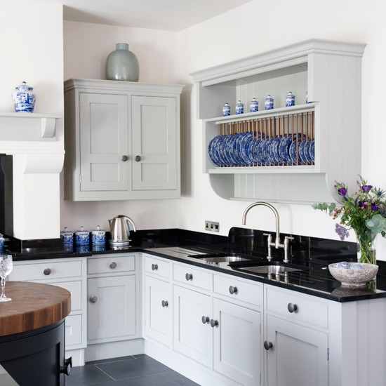Black, white and blue country kitchen  Black and white kitchens  10