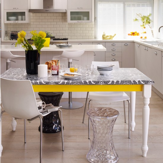 Monochrome Kitchen-diner With Yellow Accents