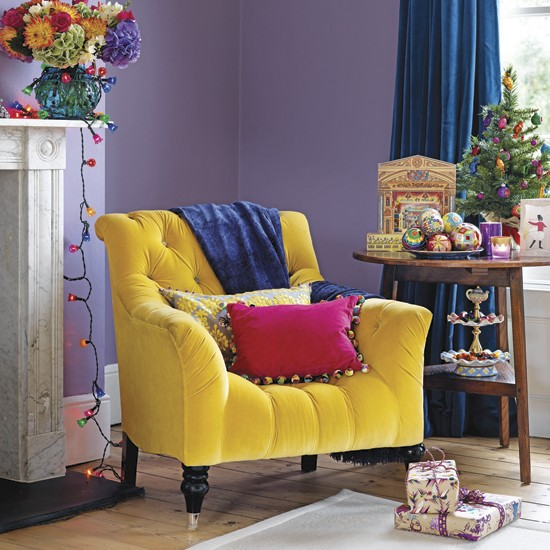 Vibrant purple and yellow living room : Decorating with contrasting colours : housetohome.co.uk