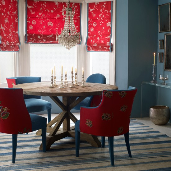 Classic red and blue dining room | Dining room design | Upholstered dining room chairs | Image | Housetohome
