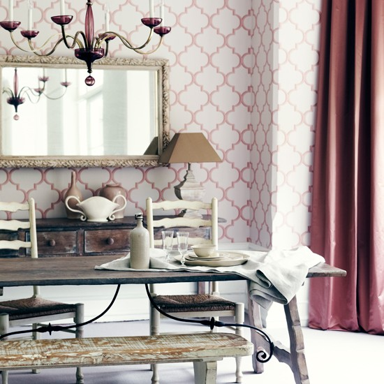 Blush pink dining room traditional dining room for Dining room wallpaper ideas uk