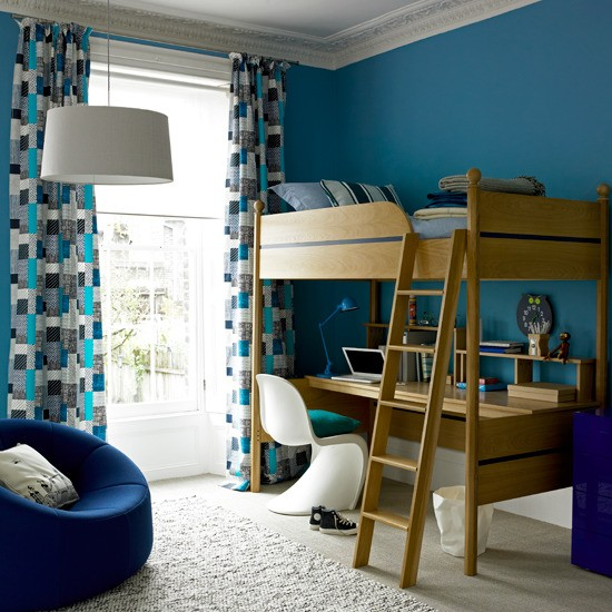 Bold blue boy's room | kids room girls bed