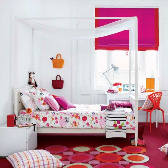 Pink And Orange Girls Room Colourful Childrens Bedroom