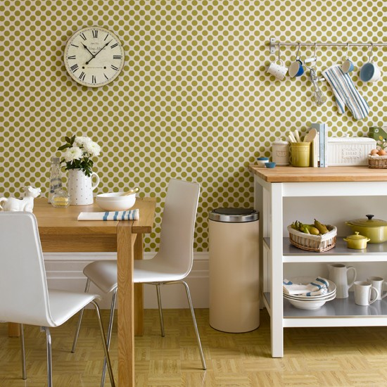 Geometric Green Wallpaper Kitchen Ideas 10