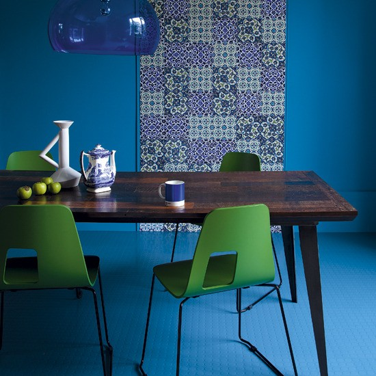 Blue And Green Dining Room Colourful Dining Room Ideas